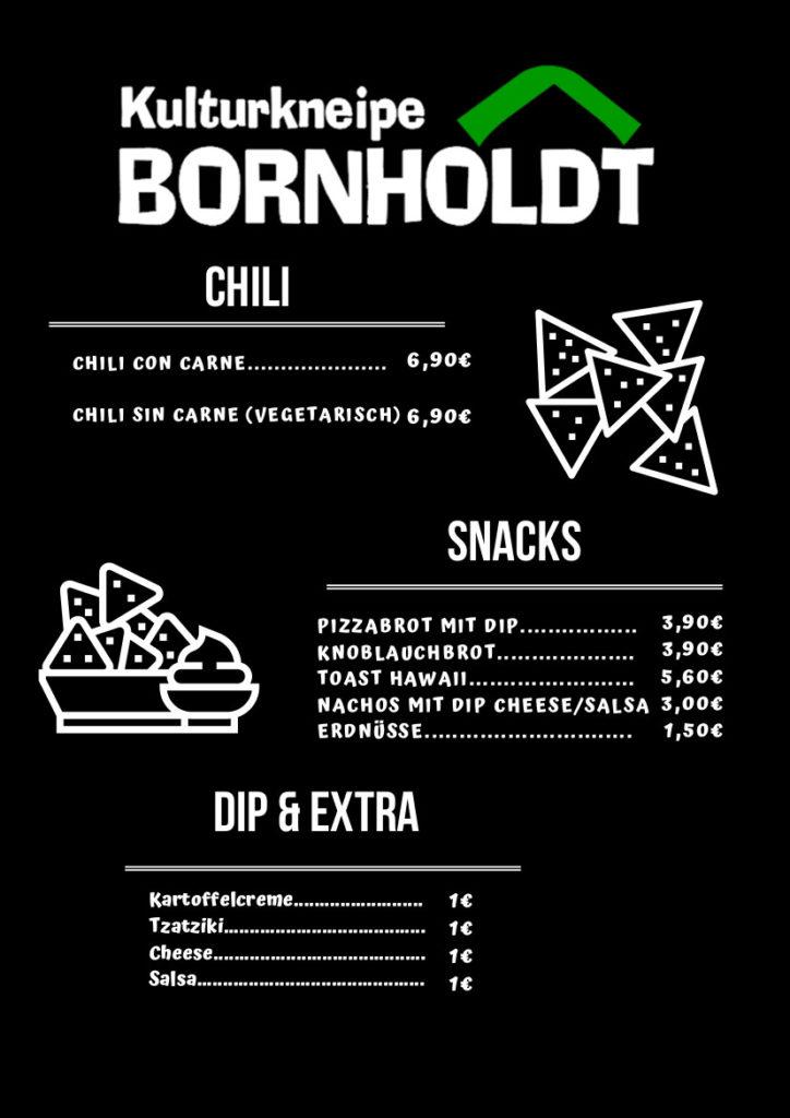 Bornholdt Speisekarte Chili, Snacks und Extra